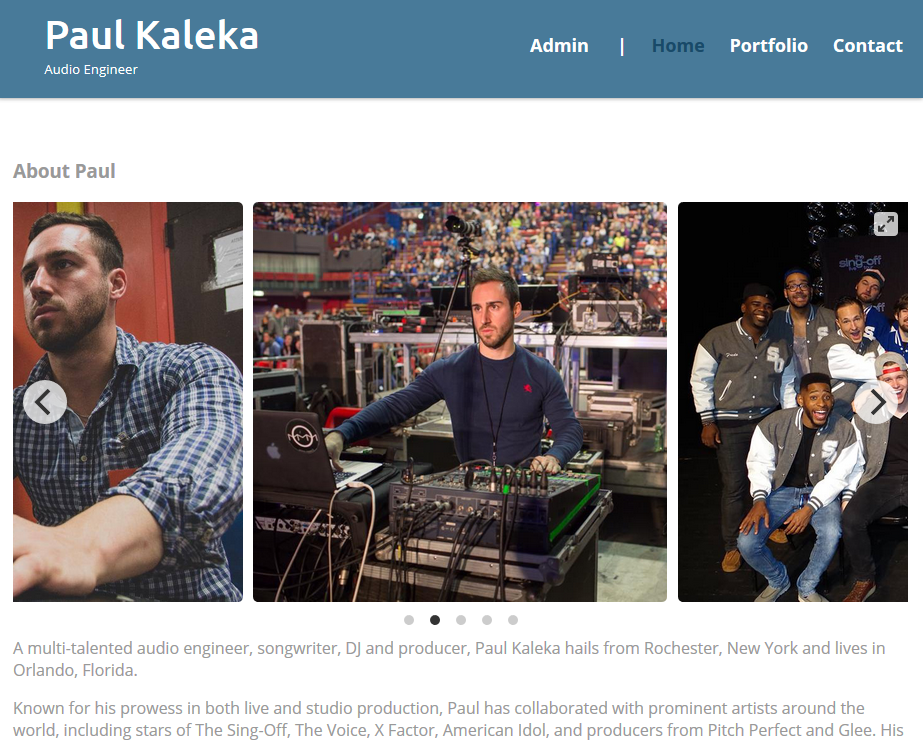 Screenshot of paulkaleka.com